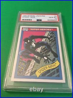 1990 Marvel Series 1 Trading Cards Black Suit Spider-Man #2 PSA 10 Low POP