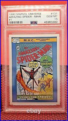 1990 Marvel Universe Amazing Spider Man #1 PSA 10 GEM MINT #131 (trading card)