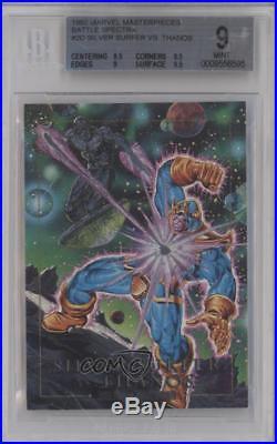 1992 SkyBox Marvel Masterpieces #2-D Silver Surfer vs Thanos BGS 9 MINT Card k4g