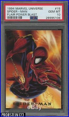 1994 Marvel Universe Flair Power Blast #15 Spider-Man PSA 10 GEM MT POP 1