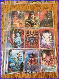 1995 marvel Masterpieces Base, Emotion, Holoflash and Canvas Set W a promo Sheet