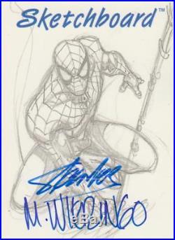 1998 Marvel Skybox The Silver Age Autograph Sketchboard Stan Lee & Wieringo