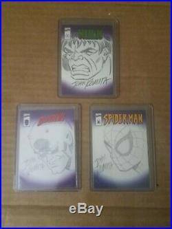 2001 Topps Marvel Legends and Topps Hulk Spider Man Sketch Card John Romita Sr