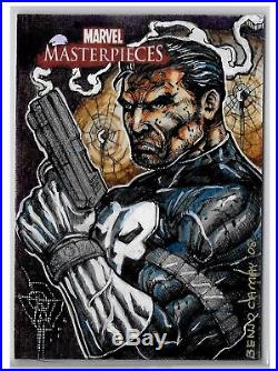 2008 Marvel Masterpieces Sketch The Punisher By Artist Benjo P. Camay Rare