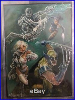 2012 Marvel X-men Charles Hall Painted Sketch Card wolverine iceman psylocke