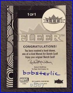 2013 Fleer Marvel Retro Bob Stevlic SILVER SURFER Sketch Art Card Rare Character