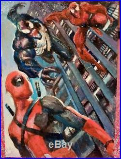 2014 Marvel Premier Sketch Paint Card Deadpool vs Venom Carnage by Charles Hall