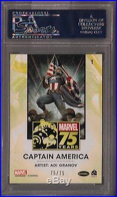 2014 Marvel Universe 2 75th Anniversary Gold Foil #1 Captain America /75 PSA 9