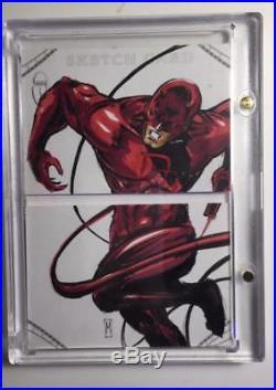 2014 UD Marvel Premier Sketch Dual Panel Melike Acar, Daredevil & Elektra, READ