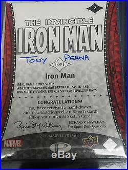 2014 Upper Deck UD Marvel Premier RARE Tony Perna sketch card IRON MAN #2