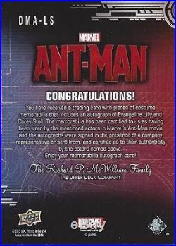 2015 UD Marvel Ant Man BLUEPRINTS Evangeline Lilly Corey Stoll Dual Autograph