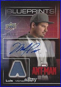 2015 UD Marvel Ant Man BLUEPRINTS Michael Pena Autograph Memorabilia Card 9/10