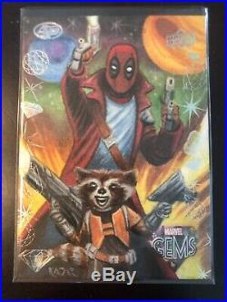 2016 Marvel Gems Deadpool Rocket Racoon AP Sketch Card By Frank Kadar