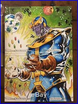2016 Marvel Masterpieces 4-card PUZZLE Sketch Thanos Redemption set VHTF