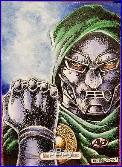 2016 Marvel Masterpieces AP Sketch Card Dr. Doom by Dan Borg Borgonos