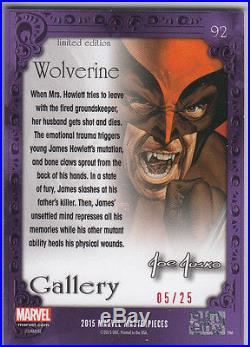 2016 Marvel Masterpieces Canvas Gallery Red Foil #92 Wolverine #05/25 VHTF