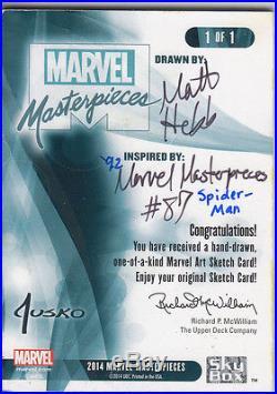 2016 Marvel Masterpieces Sketch SPIDER-MAN Matt Hebb (After Jusko MM 1992) WOW
