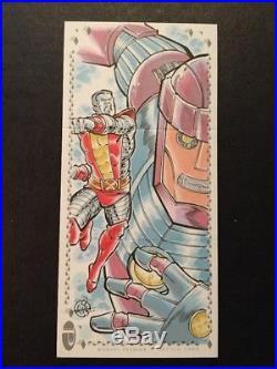 2017 Marvel Premier Colossus Sentinel Thanos triple panel sketch Mitch Ballard