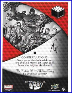 2017 Marvel Premier Jumbo Sketch 1/1 The Defenders by Anthony Tan AJT case hit