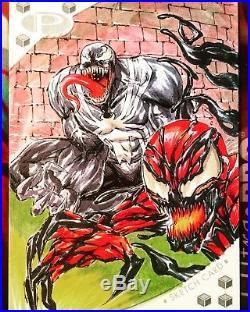 2017 Marvel Premier Venom Carnage Sketch Card 5X7 Jumbo By Shelby Robertson