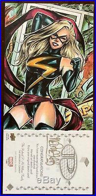 2017 Upper Deck Marvel Premier Melike Acar Tigra Ms. Marvel Triple Sketch Card