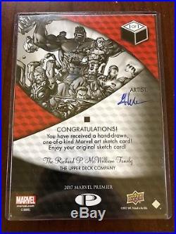 2017 Upper Deck Marvel Premier Mick Matt Glebe Captain America 5x7 Sketch Card