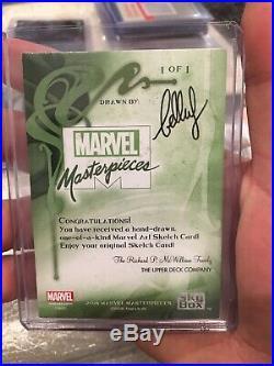 2018 Marvel Masterpieces 1/1 sketch card Spiderman by Bella Rachlin Drool Worthy