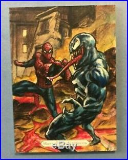 2018 Marvel Masterpieces Artist Sketch Card Spider-Man vs Venom Fabian Quintero