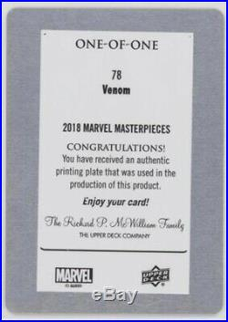 2018 Marvel Masterpieces Base Card #78 Venom Printing Plate