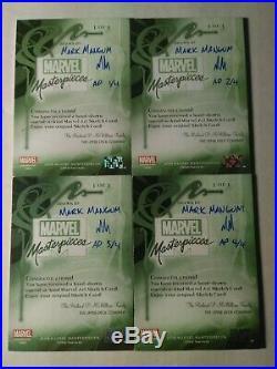 2018 Marvel Masterpieces Puzzle Sketch x4 cards Mark Magnum Spiderman vs Venom