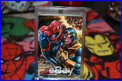 2018 Marvel Masterpieces Sketch Card of Spider-Man vs Thanos Fabian Quintero
