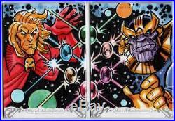2018 Marvel Masterpieces Tim Shinn 2 Piece Puzzle Sketch Auto Cards #1/1 Thanos