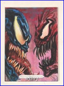 2018 Marvel Masterpieces Venom & Carnage Sketch Card by Fabian Quintero