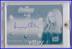 2018 UD Marvel Avengers Infinity War Elizabeth Olsen Plate Auto 1/1