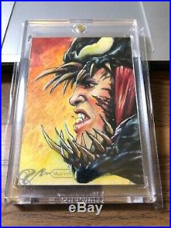 2018 Upper Deck Marvel Masterpieces Sketch Card Fabian Quintero Venom All Paint