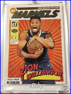 2019-20 Donruss Zion Williamson Net Marvels Gold Press Proof SSP RC HOT! DEAL