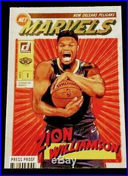 2019-20 Panini Marvels Gold Foil Press Proof Zion Williamson Rc Very Rare #4