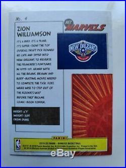 2019-20 Panini Zion Williamson Donruss Gold Foil Marvels Insert Card #4 Mint