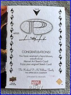2019 Marvel Premier SKETCH LYDI LI Lady Bullseye Triple Panel Card