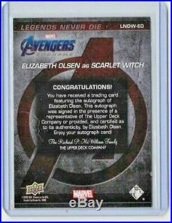2020 Elizabeth Olsen Upper Deck Avengers Captain Marvel Endgame Auto