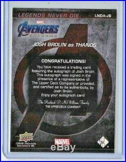 2020 Josh Brolin Upper Deck Avengers Captain Marvel Endgame Auto Thanos