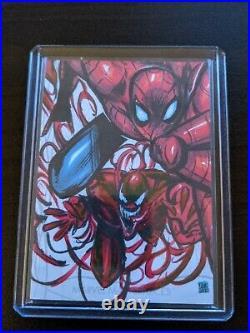 2020 Marvel Masterpieces Spider Man Carnage Sketch Card 1/1 by Melike Acar