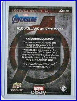 2020 Tom Holland Upper Deck Avengers Captain Marvel Endgame Auto Spider-man