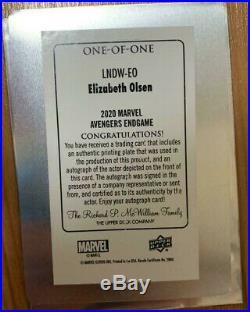 2020 Upper Deck MARVEL AVENGERS ENDGAME AUTO Elizabeth Olsen as Scarlet Witch /1
