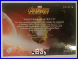 2 Lot Elizabeth Olsen Scarlet Witch Auto Upper Deck Marvel Avengers Infinity War