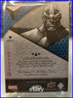 AO 2019 UD Marvel Premier Avengers Artist's Auto Twovoo Sketch Card Thanos 1/1
