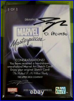 BE 2020 UD Marvel Masterpieces Blade Sketch Cards Drawn Auto By D. Palumbo 1/1