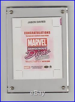 Black Cat Sketch Card 2010 Marvel Dangerous Divas Ap Uncut 1/1 Jason Davies
