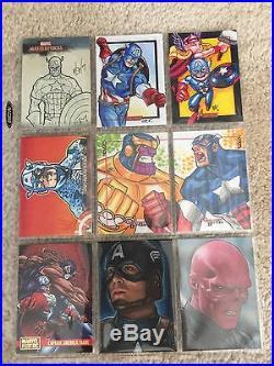 Captain America Rare Vhtf 32 Original Sketch Art & Trading Card Lot 1966 Marvel
