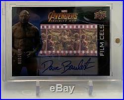 Dave Bautista Marvel Avengers Infinity War Autograph Auto Film Cels Card 080/100